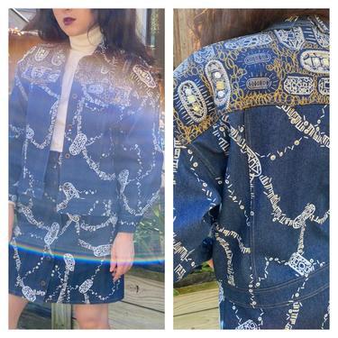 Vintage 80s Rare Zandra Rhodes Denim Printed Studded Embellished Jacket Mini skirt Suit set XS S by prismavintageatx