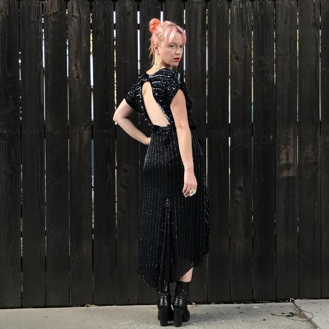 Black Sequin Maxi Dress- Beaded Silk Dress- Flapper Costume- Great ...