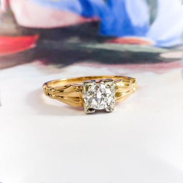 Vintage Diamond Engagement Ring Circa 1940's .27ct Antique Old European Cut Solitaire Wedding Promise Ring 14k Two Tone Yellow White Gold by YourJewelryFinder
