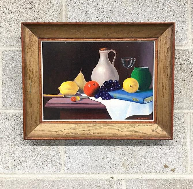 Vintage Painting Retro 1980s Size 18x14 + Still Life + Oil + Fruit and Wine + Nature Morte + Art + Wood Frame + Wall Art and Home Decor by RetrospectVintage215