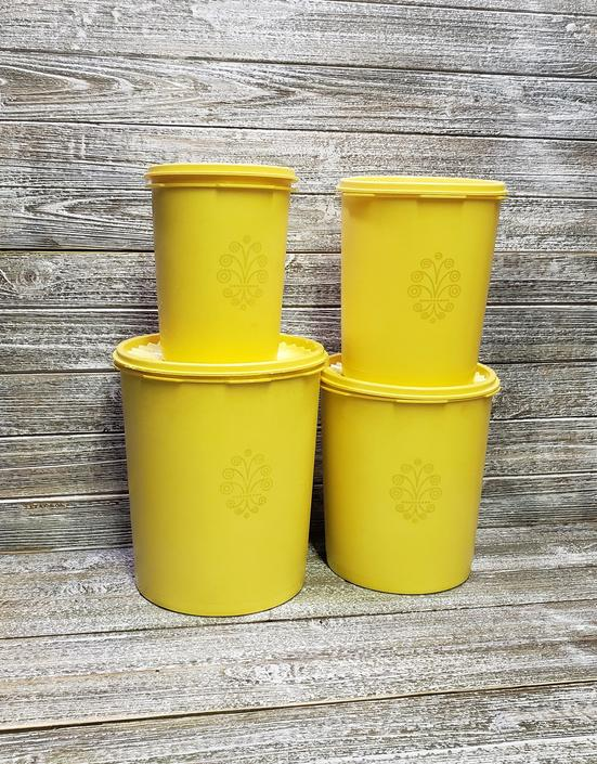 Vintage Tupperware Canisters, 1970s Yellow Gold Servalier Canister Set, 4  Nesting Kitchen Canisters + Lids, Mid Century Vintage Kitchen by ...