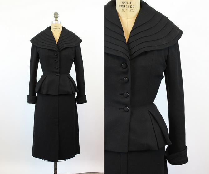 1950s Lilli Ann HUGE COLLAR peplum jacket small medium | new fall by CrushVintage