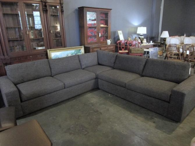 ROOM AND BOARD SECTIONAL SOFA IN DARK CHARCOAL FABRIC