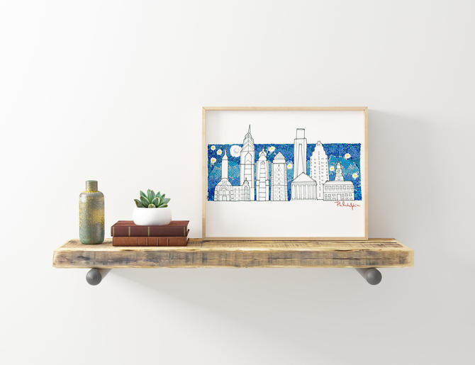Philadelphia skyline illustration by VioletredStudio