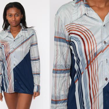 70s Boho Shirt Psychedelic Art Deco STRIPED Blouse Op Art Grey Blue Disco Top Hippie 1970s Vintage Bohemian Button Up Long Sleeve Large L by ShopExile