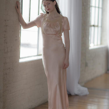 1930s silk lace loungewear nightgown slip OOAK Art Deco antique lingerie by DevoreVintage