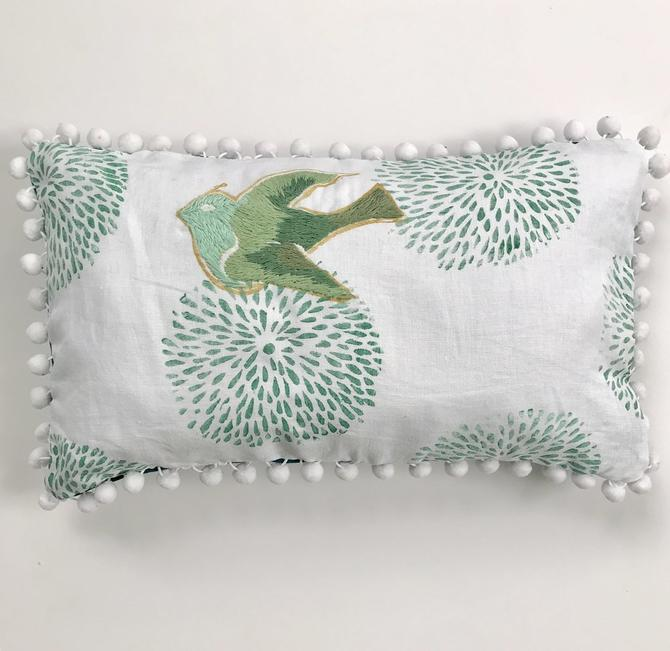 Embroidered Dove Pillow in Greens