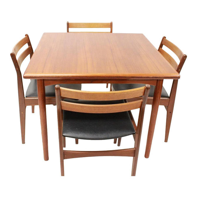 Mid Century Modern danish dining set expandable table 4 chairs | Gre-Stuff.com by GreStuff