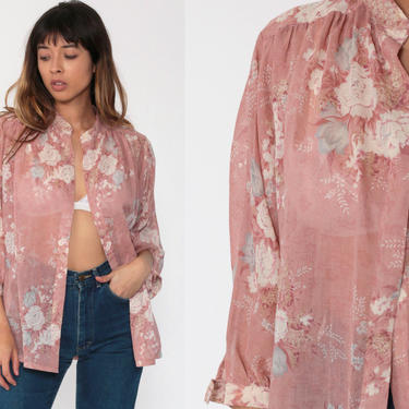 Pink Floral Top 70s Blouse Open Front Jacket Top Bohemian Shirt Vintage 80s Boho Hippie Festival 1970s Dolman Long Sleeve Medium Large xl by ShopExile