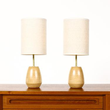 Studio Craft Birch Table Lamps — Lathe Turned with Brass Detailing — Pair — TL5 by atomicthreshold
