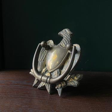 1960s Eagle & Shield Door Knocker Vintage Mid-Century Classic American Rambler Home Brass Decor by BrainWashington