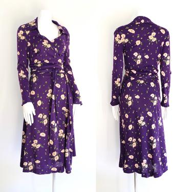 70s DVF floral print classic wrap dress 14 / 1970s vintage Diane Von Furstenberg purple sash tie dress size 14 by ritualvintage