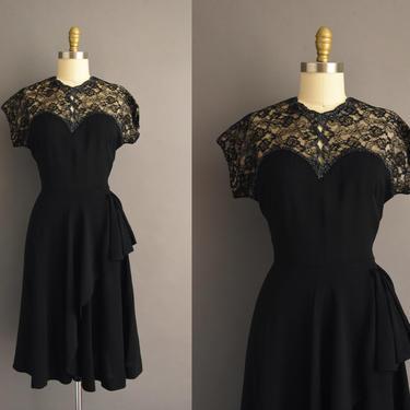 1940s vintage dress | Gorgeous Jet Black Glass Beaded Rayon Cocktail Party Dress | Medium | 40s dress by simplicityisbliss