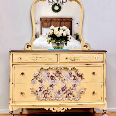 Lovely vintage dresser, floral, yellow, chest of drawers, hand painted by LaVidaBellaDesign