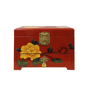 Chinese Oriental Red Lacquer Color Flower Mirror Jewelry Chest Box ws1198E by GoldenLotusAntiques