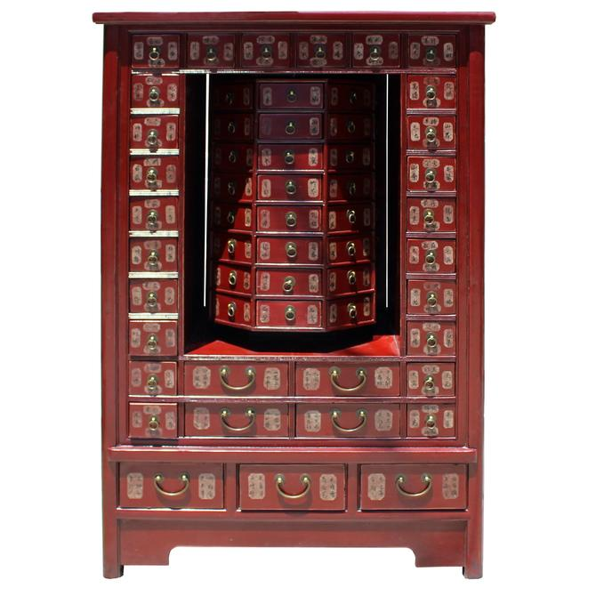Chinese Distressed Red 95 Drawers Medicine Apothecary Cabinet cs5125S