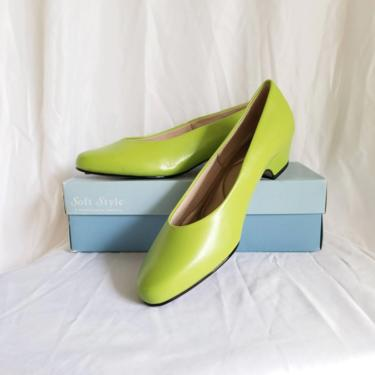 Vintage Lime Green Shoes, Size 7 1/2 / Plain Low Heel Shoes / Colorful Almond Toe Party Heels / Casual Slip On Dress Shoes in Original Box by SoughtClothier