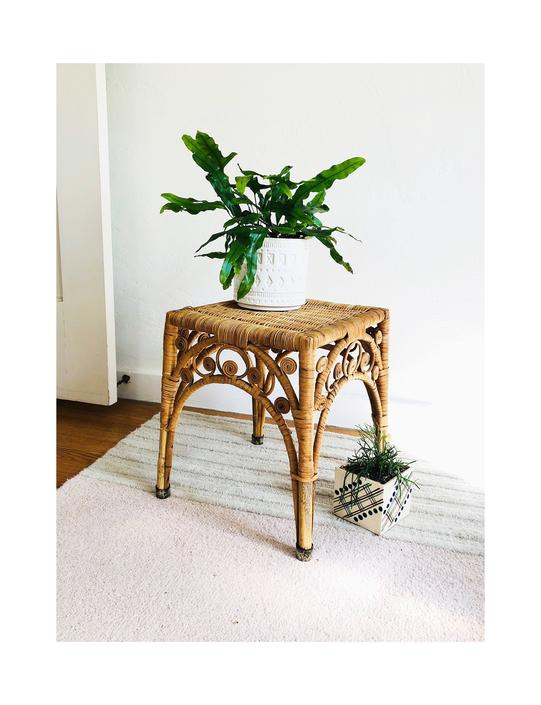 Vintage Curly Square Wicker Side Table or Plant Stand / FREE SHIPPING by SergeantSailor