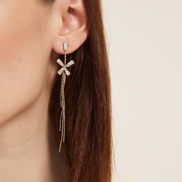 alivia gold flower long drop earring, flower dangle earring, cz long drop earring, cz flower earring, floral earring, cz butterfly earring by MelangeBlancDesigns
