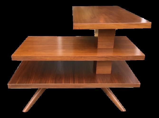 Mid-Century Three Tier Walnut Coffee or Side Table