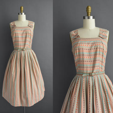 vintage 1950s | Adorable 50s Brown Cotton Stripe Print Sleeveless Full Skirt Day Dress | Large | 50s dress by simplicityisbliss