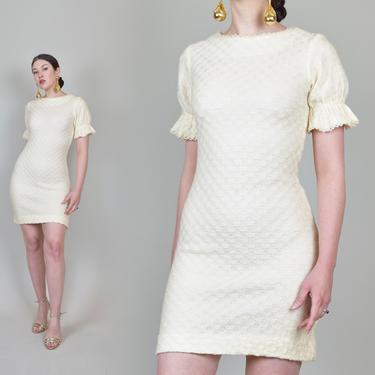 1960's Ivory Knit Mini Dress | 1960's Bridal Mini Dress by WisdomVintage