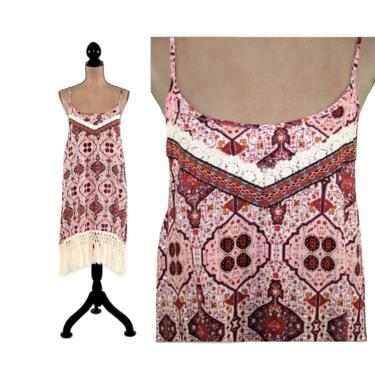 Hippie Bohemian Dress with Fringe ~ Spaghetti Strap Boho Summer Dresses for Women ~ Midi Sundress Rayon India Print ~ Burgundy Red or Pink by MagpieandOtis