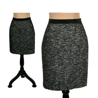 Black and White Marled Tweed Pencil Skirt, Boucle Wool Blend Midi Skirt, Vintage Clothes Women, Ann Taylor Size 8 Petite Medium by MagpieandOtis