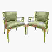 Mastercraft Pair Of Greek Key Lounge Chairs In Brass 1960s