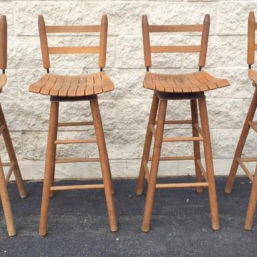 Arthur Umanoff type wood Mid-Century Modern Bar Stools - Set of 4