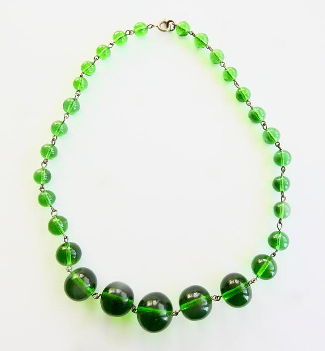 Deco Green Glass Necklace by LegendaryBeast