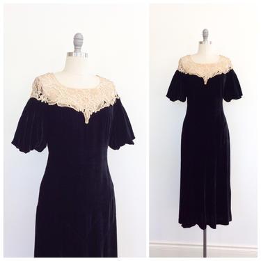 30s Black Silk Velvet & Ivory Lace Illusion Neckline Dress / 1930s Vintage LBD Party Dress / Medium / Size 6 by CheshireVintageShop