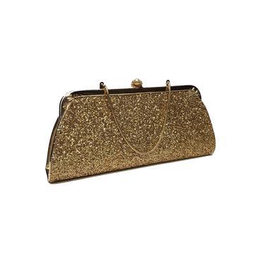 Vintage Gold Glitter Clutch Purse, 1950s 1960s Cocktail Evening Handbag, Mid Century Modern Fashion, Retro Pinup Girl Bag, Vintage Purse by AGoGoVintage