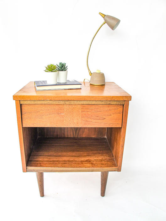 Mid-Century Modern Side Table With Drawer by PortlandRevibe