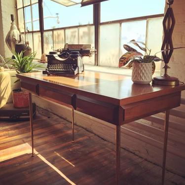 Brass-Legged Mid Century Desk