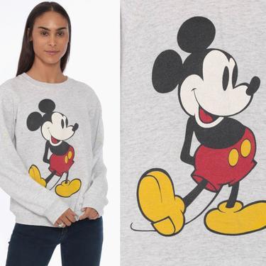 90s Walt Disney Sweatshirt -- Mickey Mouse Sweater 80s Raglan Sleeve Disneyland Grunge Shirt Heather Grey Cartoon 90s Vintage Small Medium by ShopExile
