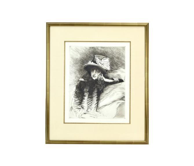 "Original 1883 James Tissot ""Berthe"" French Etching Portrait Female Artist Morisot by PrairielandArt"