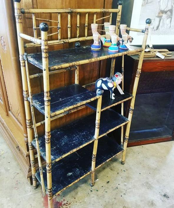 Just in! Antique French Rattan shelf. $350