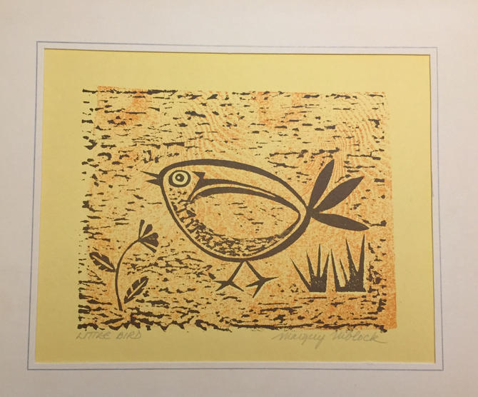 Mid Century Modern 1960's Wood Cut Print by Listed Artist Margery Niblock by ModandOzzie