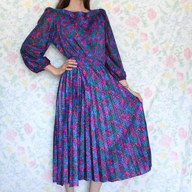 Vintage 80s Dress, Pink Purple Houndstooth Pattern Pleated Midi Blouson Dress by M.C.S Ltd, Size Medium by AMORVINTAGESHOP