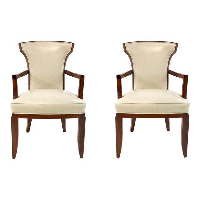 Barbara Barry for Henredon Elegance Leather Arm Chairs Pair