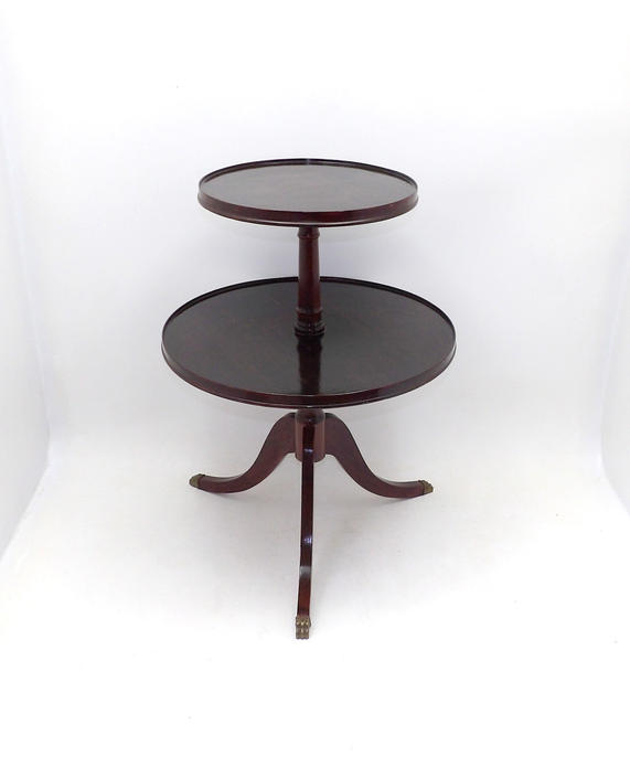 Duncan Phyfe 1945 Mid Century Modern Two Tiered 2 Tier Round Occasional Side Entryway Knick Knack Display Tea Table Nightstand Corner Table by MakingMidCenturyMod
