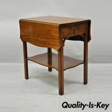 Vintage Kittinger Buffalo Mahogany Chippendale Drop Leaf Side Lamp End Table