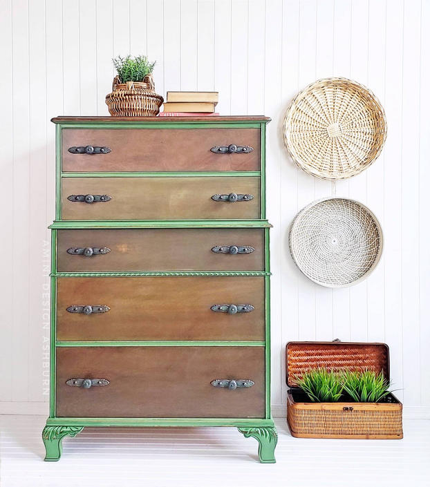 SOLD - Gorgeous Green Chest of Drawers by AminiDesignAshburn