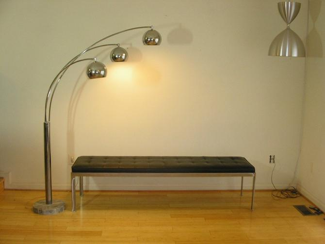 Danish Modern Castiglioni / Sonneman Style 3-Arm Vintage Chrome Arc Arch Floor Lamp (Eames Knoll Milo Baughman Mid Century MCM) by RetroSquad