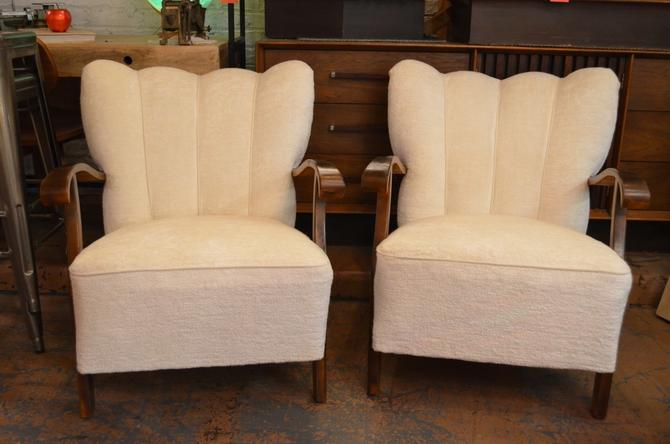Vintage Pair of Scandinavian Art Deco Shell Back Armchairs