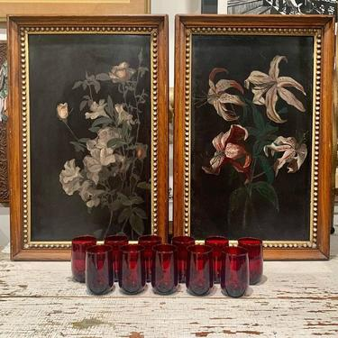 Oil on board florals; ruby red digestif / juice glasses
