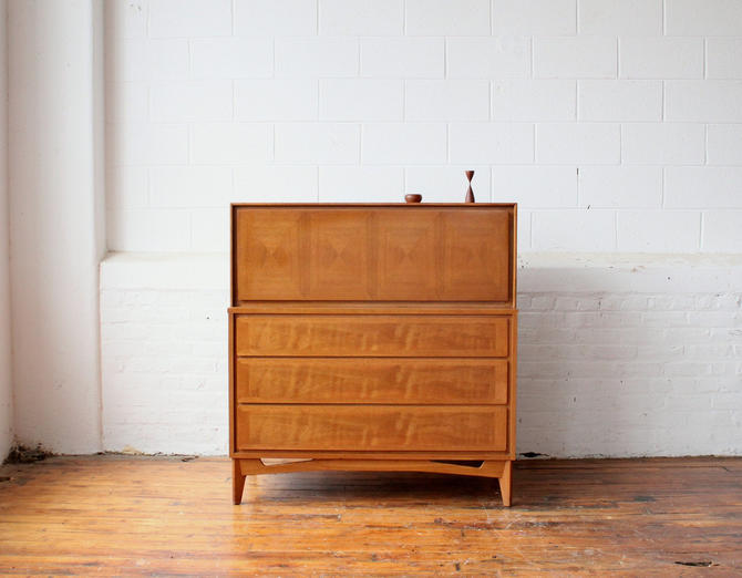 Reserved MCM Drop-Front Dresser with Diamond-Patterned Door by NijiFurnishing