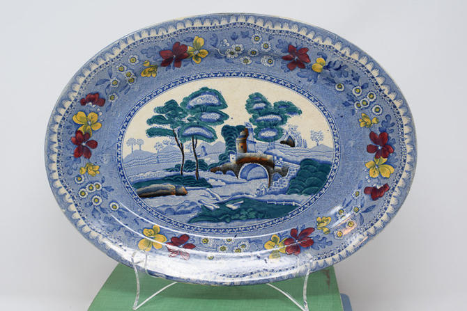 Vintage Blue, Green, Yellow and Red Old Castle Staffordshire England Platter by CapitolVintageCharm