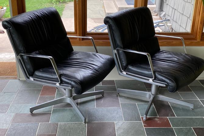 Pair Vintage Black Leather Swivel Lounge Chairs Eames by Walkingtan